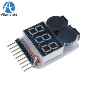 1-8S-Lipo-Li-ion-Fe-Battery-Low-Voltage-Meter-Tester-Buzzer-Alarm