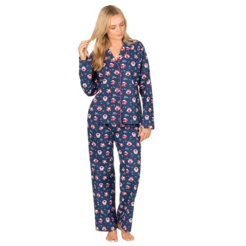 Ladies//Womens Cotton Flannel Check//Owl Pyjamas//Pyjama Set Size 8-22 NEW