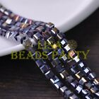 25pcs 6mm Cube Square Faceted Crystal Glass Loose Spacer Beads Bluish Violet AB