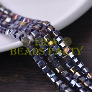 25pcs-6mm-Cube-Square-Faceted-Crystal-Glass-Loose-Spacer-Beads-Bluish-Violet-AB