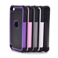 For iPod Touch 5 5th Gen HARD SOFT RUBBER HIGH IMPACT ARMOR CASE BLACK HYBRID ES