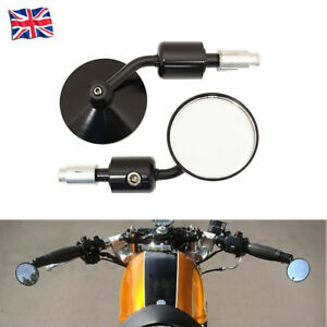 Black-Racer-Round-Handle-Bar-End-Motorcycle-Mirrors-Motorbike-CNC-Machined