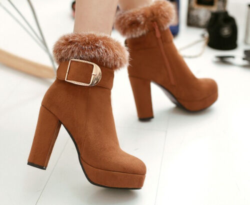 Cm Bottines 12 Chaussures Pour Comme Bottes 8 Laine Talon Cuir Polaire Femmes 4gFO4q