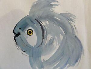BENG-und-mit-Schriftzeichen-signiert-Aquarell-2001-ASIATISCHER-FISCH