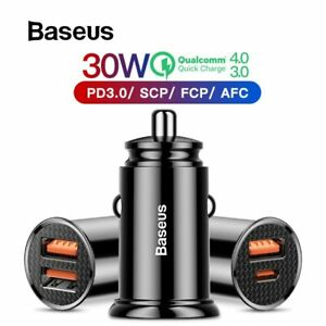 Details about Baseus 30W Quick Charge 4.0 Car Charger For iPhone Samsung AFC Huawei SCP FCP