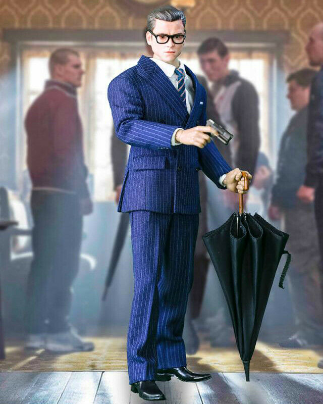 1 1 1 6 Scale KINGSMAN Royal Agent Head Sculpt Business Suit Set with Gun & Dog 033e5d