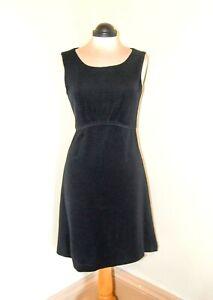 Laura-Ashley-Black-Dress-Jersey-Grosgrain-Effect-Fit-n-Flare-Size-12