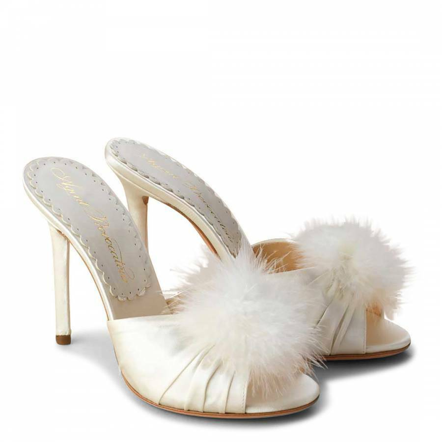 AGENT PROVOCATEUR IVORY ELICE MULES SHOES SIZE 7 / 40 RRP WEDDING