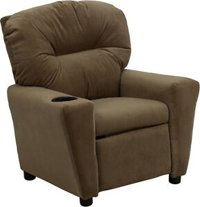 Flash Furniture Contemporary Brown Microfiber Kids Recliner with Cup Holder