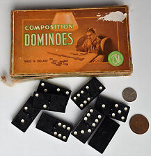 Vintage domino game Set of TSL composition dominoes Original box 1940s 1950s