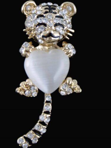 Venetti Diamante TIGRE BROCHE Bisutería Insignia animal Presente Regalo