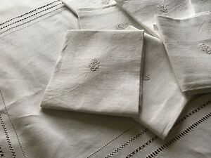 ANTIQUE-FRENCH-LINEN-NAPKINS-amp-TABLECLOTH-SET-OF-18-NAPKINS-034-BC-034-MONOGRAM