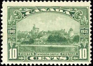 Mint H Canada 1935 F+ Scott #215 10c Windsor Castle Silver Jubilee Stamp