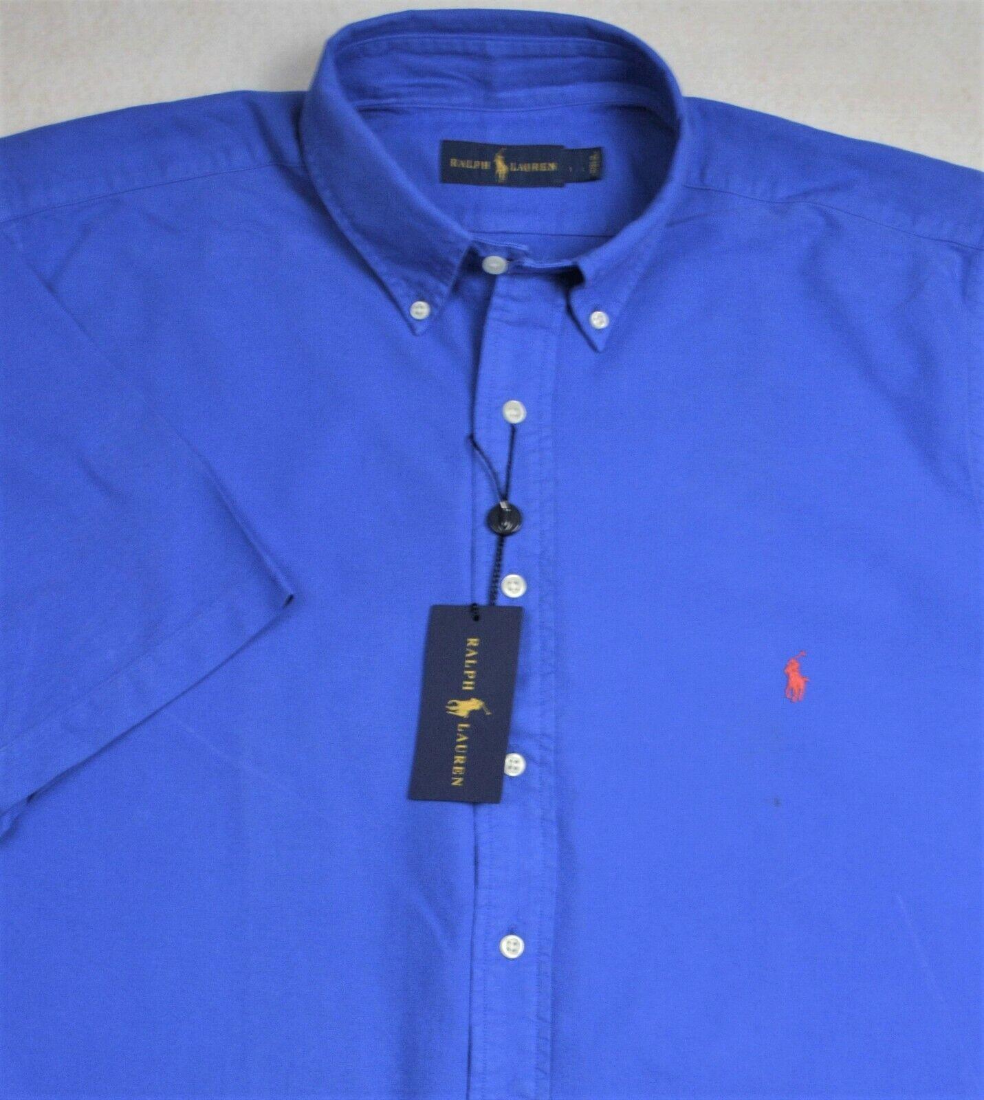Ralph Lauren Shirt bluee Deep Dye Short Sleeve Button Front 2XB 2XLT NWT