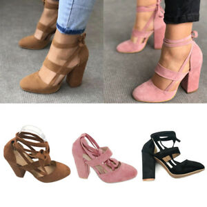 Image Is Loading Women Block High Heels Lace Up Ankle Strap