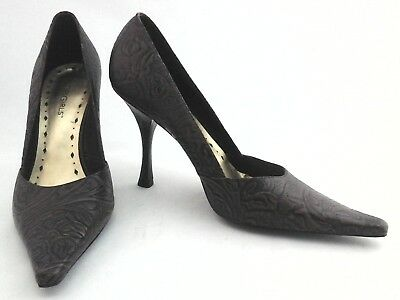 100% True Bcbg Girls Iconic Heels Brown Floral Embossed Sexy Pointy Pumps Us 7.5/37.5 Rare Attractive Designs; Heels Women's Shoes