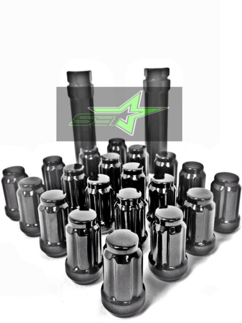 20 BLACK SPLINE TUNER RACING LUG NUTS | 12X1.5 | FOR JDM HONDA ACURA  CONICAL