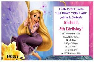 Image Is Loading 1 X RAPUNZEL GIRLS BIRTHDAY PERSONALISED PARTY INVITATIONS