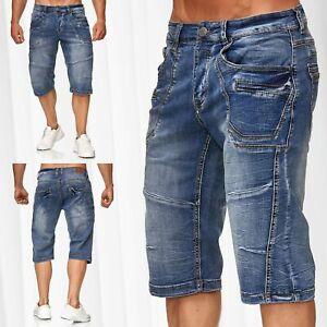 Hommes-Pantalon-court-Bermuda-Jeans-Capri-Cotton-Shorts-Lavage-d-039-ete-Vintage