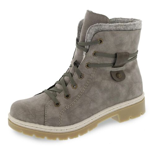 Rieker Damen Boots Stiefelette Schnürboots Winterstiefelette Winter Schuhe grau