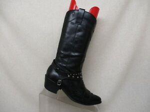 MIA-Black-Pull-On-Studded-Cowboy-Western-Fashion-Boots-Womens-Size-4