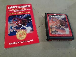 SPACE CAVERN * red label * by APOLLO for ATARI 2600 ▪︎ CARTRIDGE and MANUAL ▪︎