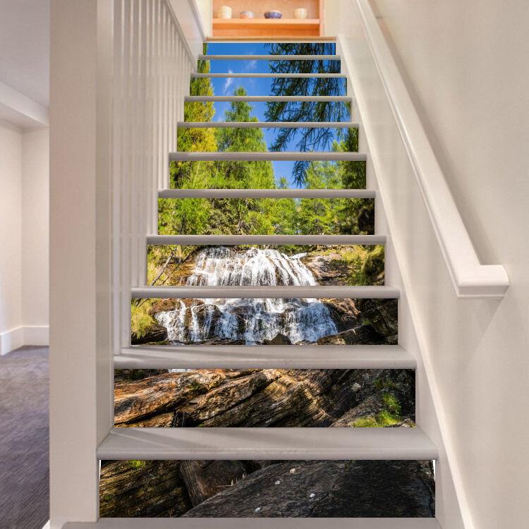 3D Holz Wasserfall 2Stair Risers Dekoration Fototapete Vinyl Aufkleber Tapete DE