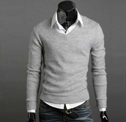Men/'s Casual Slim Fit V-neck Knitted Cardigan Pullover Jumper Sweater Tops