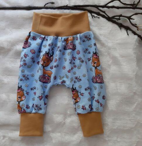Pumphose Babyhose Tiere Rehe Blume 50-56 62-68 74-80 86-92 98-104 handmade blau