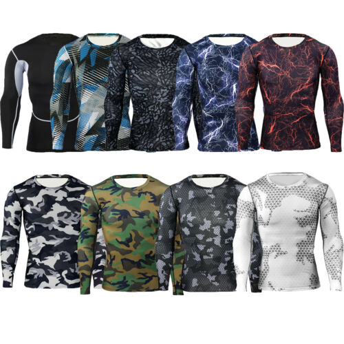 Men Compression Base Layer Tops Short//Long Sleeve Fitness Workout Sports T-Shirt