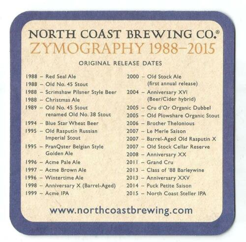 16 North Coast Steller IPA In Suppoort Of Marine Mammal Research Beer Coasters