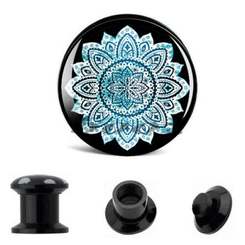 Azul Blanco Floral Acrílico Ear Tapones Piercing túneles indicadores de Loto PL92