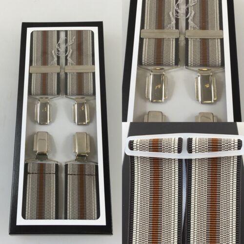 "Made Brown Stripe 44"" Vintage Pattern Braces Chrome Clip 35mm U.K"