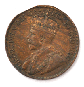 1917-1c-Canada-Large-One-Cent-Penny-KM-21-Bronze-Clipped