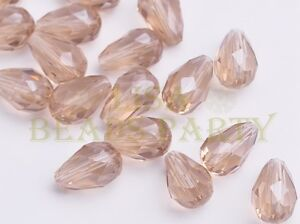 New-10pcs-15X10mm-Teardrop-Faceted-Loose-Glass-Spacer-Big-Beads-Light-Champagne