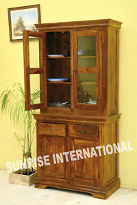Ethnic design Wooden Glass Cabinet / Kitchen Crockery Unit !