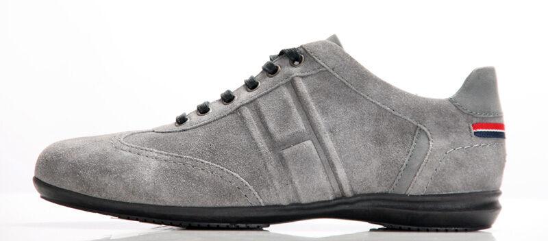 Tommy Hilfiger Leder Saski 01 B Damen Leder Hilfiger Halb Schuhe Sneaker Grau Pewter NEU 37 e8eafd