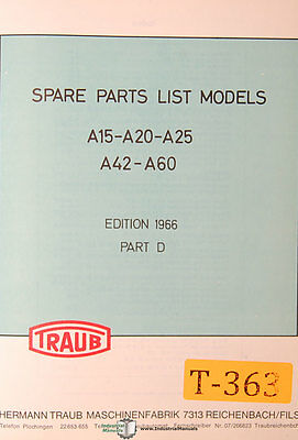 Tooling Manual Traub A15 A20 A25 A42