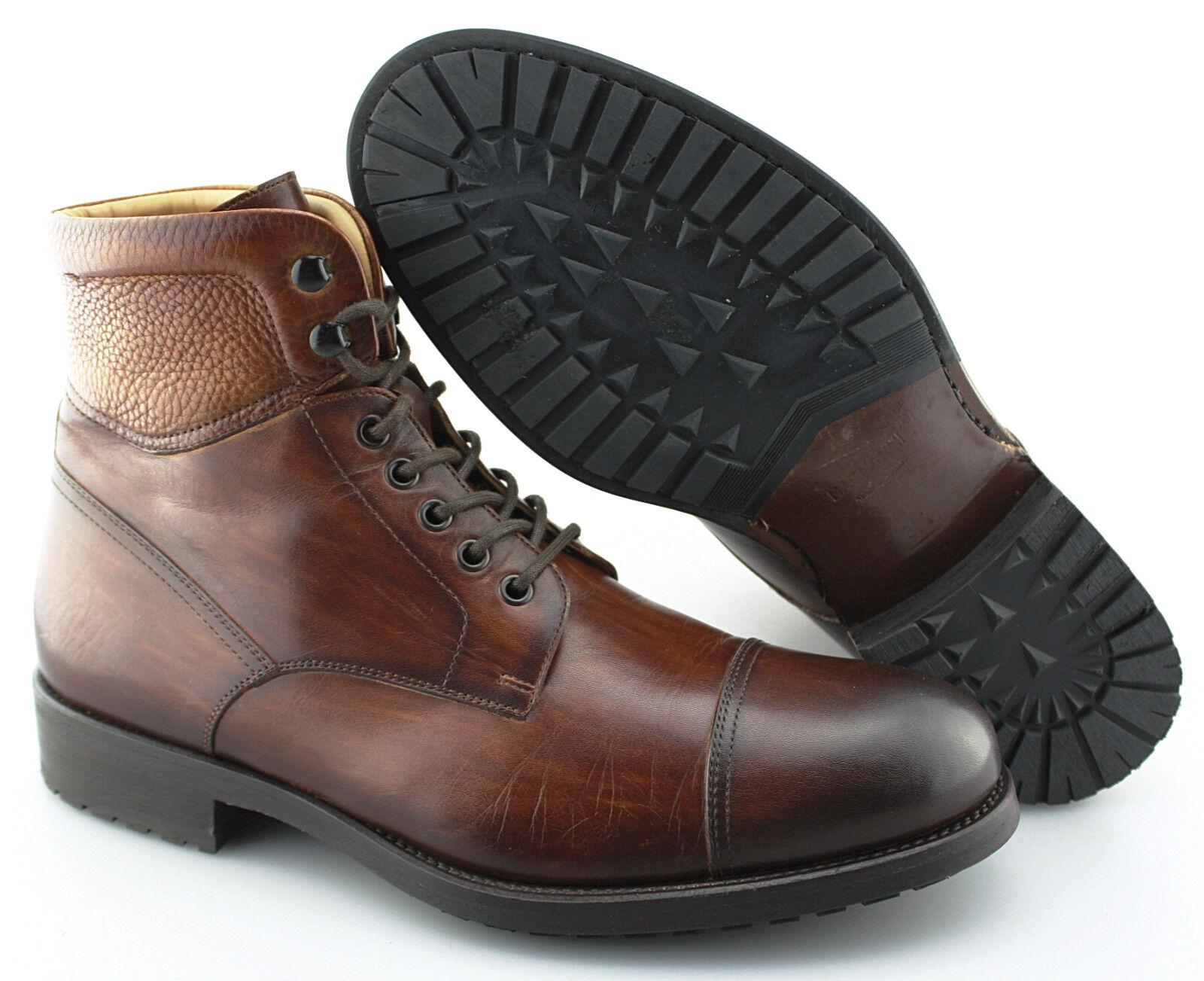 Men's MAGNANNI 'Peyton' Cognac Brown Leather Cap Toe Boots Size US 8.5 - D