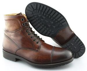 6ec1f975583 Details about Men's MAGNANNI 'Peyton' Cognac Brown Leather Cap Toe Boots  Size US 8.5 - D