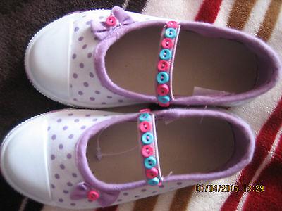 Lactantes/bebes niñas Lona Bomba Personalizadas Botones Size UK 6 Punto Blanco Lila