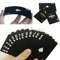 New 54 Pcs Black Plastic Exquisite Recreation PVC Playing Cards Game Poker Set