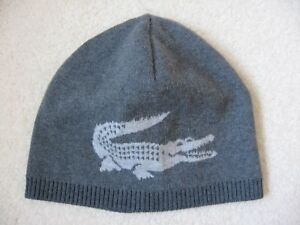 360bd1a13 NWT LACOSTE Men s Merino Wool REVERSIBLE Big Crocodile Beanie Grey ...