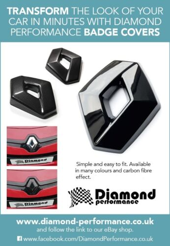 CLIO mk3 inc 197 GLOSS BLACK EFFECT FRONT/&REAR BADGE EMBLEM COVER SET
