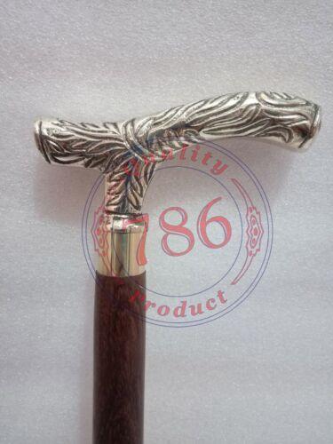 "38/"" Vintage Antique Style Brass Wood Victorian Walking Stick Cane Spiral Carved"