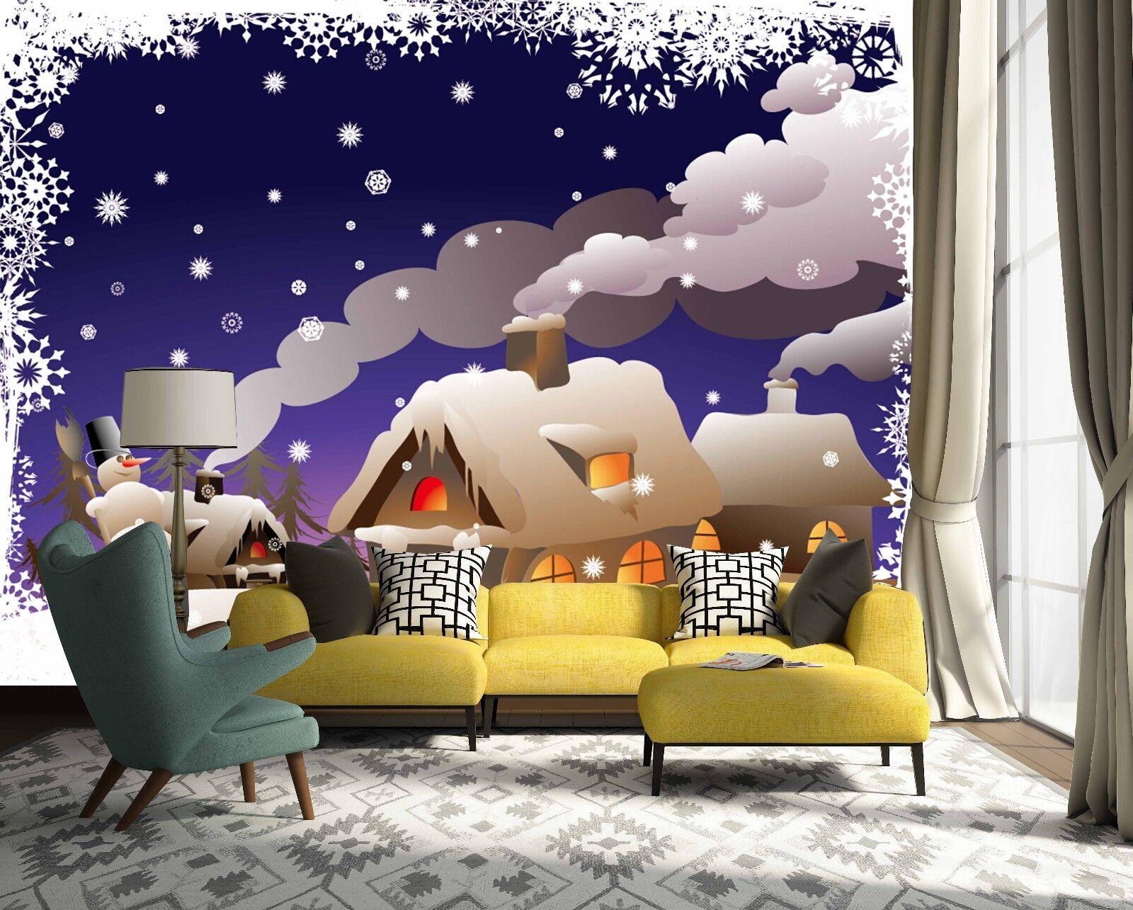 3D Schnee Haus Schornstein 88 Tapete Wandgemälde Wandgemälde Wandgemälde Tapete Tapeten Bild Familie DE | Ab dem neuesten Modell  |  4f1a5a
