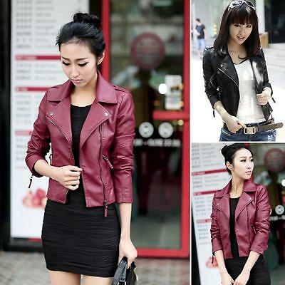 Retro Womens Synthetic Leather Jacket Short Slim Coat Motorcycle Black Korean