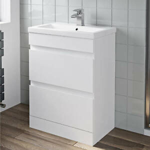 600mm-Bathroom-Vanity-Unit-Basin-Storage-2-Drawer-Cabinet-Furniture-White-Gloss