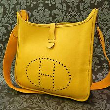 Rise-on HERMES Evelyne GM Yellow Leather Cross Body Bag Shoulder Bag #96