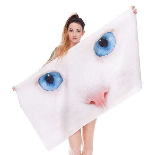 1 pc Polyester Outdoor Beach Towel Sports Bathing Shelter Funny Blue Eyes Cat